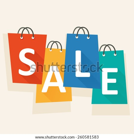 Sale template with shopping bags. White letters on colorful bags. Minimal flat design template. Vector graphic. - stock vector