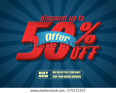 Sale 50% text  - stock vector