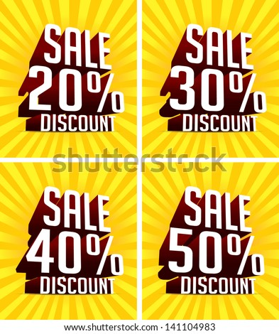 Sale text and Percent tag 3D - stock vector