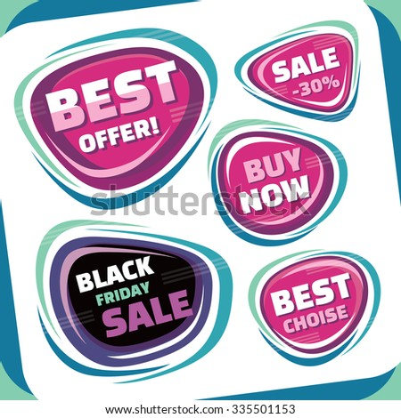 Sale - vector badges collection. Abstract sale badges set. Black Friday abstract badge. Best offer badge. Abstract retro labels, stickers and badges. Sale layout. Sale background. Discount layout.  - stock vector