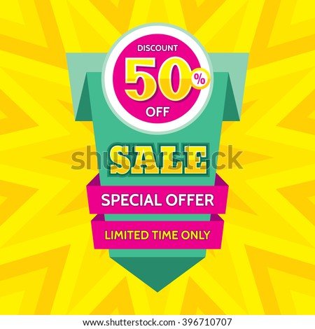 Sale vector banner design - discount 50% off. Special offer origami layout. Limited time only! Abstract poster background. Flyer sticker.  - stock vector