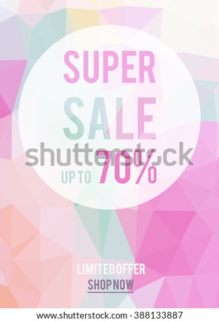 Sale vector banner on polygon background, for textile design, business, web template, greeting cards, birthday, wedding invitation.  - stock vector