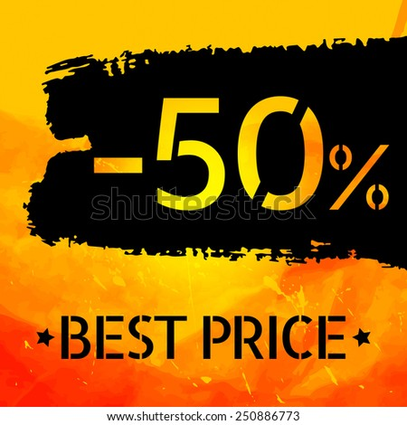 Sale vector Vintage grungy design poster template. Retro style Typography. Yellow and black. Trendy. - stock vector