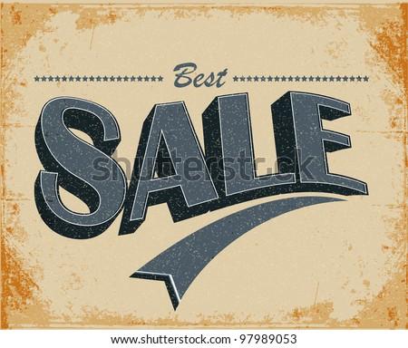 Sale Vintage Poster Vector - stock vector