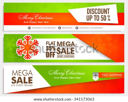 Sale website header or banner set with different discount offer for Merry Christmas and Happy New Year celebration. - stock vector