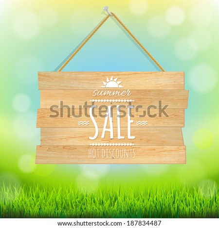 Sale Wooden Board, With Gradient Mesh, Vector Illustration - stock vector
