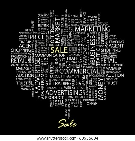 SALE. Word collage on black background. Illustration with different association terms. - stock vector
