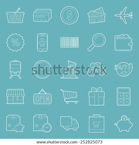 Sales and shopping thin lines icons set graphic illustration - stock vector