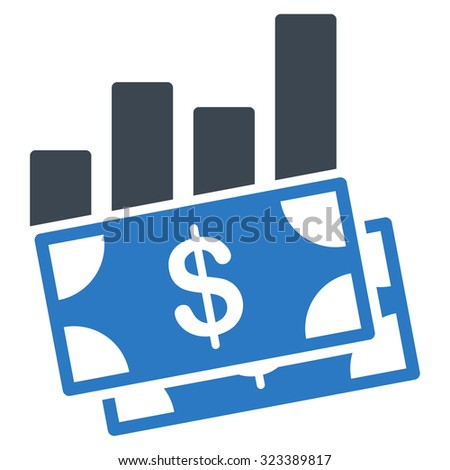 Sales Bar Chart vector icon. Style is bicolor flat symbol, smooth blue colors, rounded angles, white background. - stock vector
