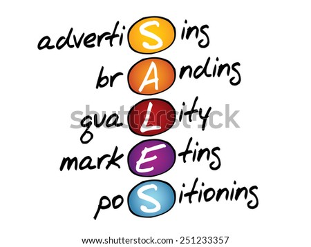SALES, business concept acronym - stock vector
