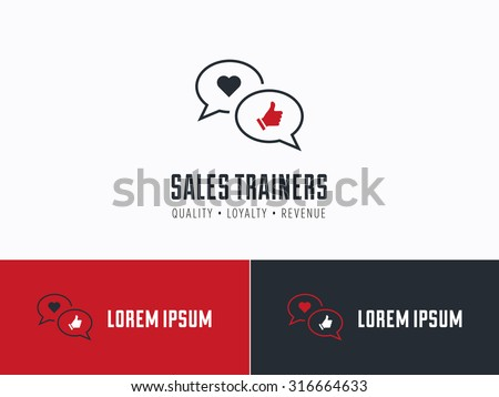 Sales consultant, sales trainer or mystery shopper company logo. Customer satisfaction, communication and service excellence symbol. - stock vector