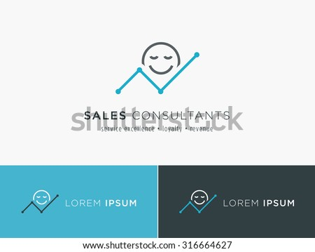 Sales consultant, sales trainer or mystery shopper company logo. Customer satisfaction and growing revenue chart symbol. - stock vector