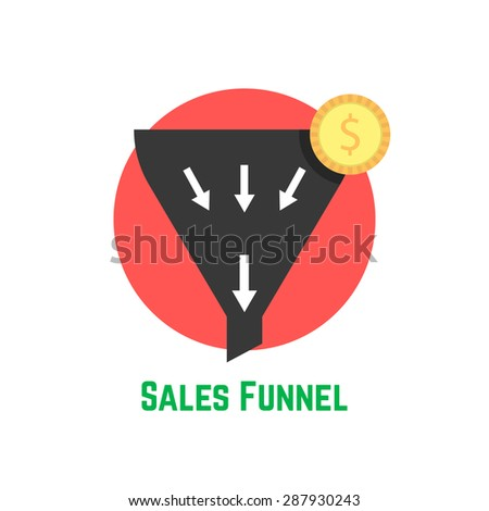 sales funnel in red circle with coin. concept of e-commerce, diversification, management, earnings, diversity. isolated on white background. flat style trend modern logo design vector illustration - stock vector