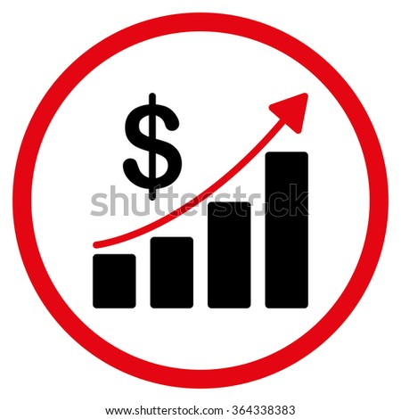 Sales Growth vector icon. Style is bicolor flat circled symbol, intensive red and black colors, rounded angles, white background. - stock vector
