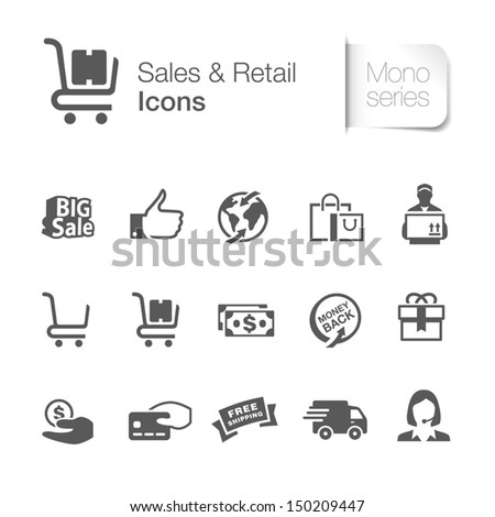 Sales & retail related icons.  - stock vector