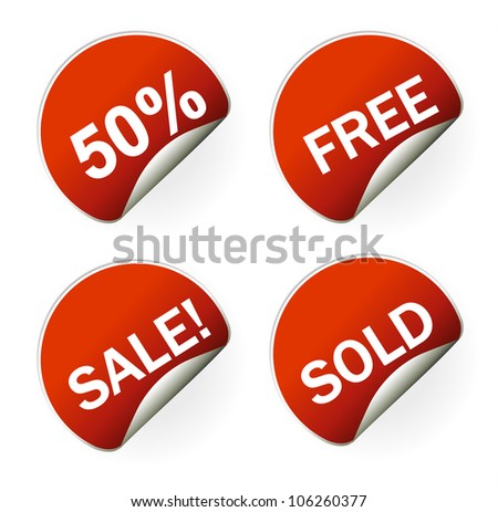 sales sticker tag with discounted percentage and other message - stock vector