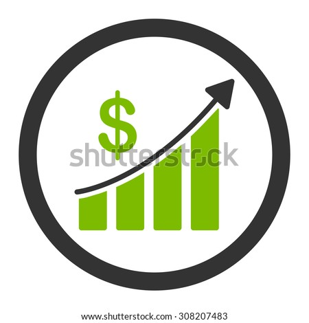 Sales vector icon. This rounded flat symbol is drawn with eco green and gray colors on a white background. - stock vector