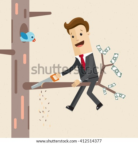 Salesman is cutting a tree branch on which he is sitting. A man in a suit sits on a tree with a hacksaw  in his hand . Flat style illustration, vector, EPS10.  - stock vector