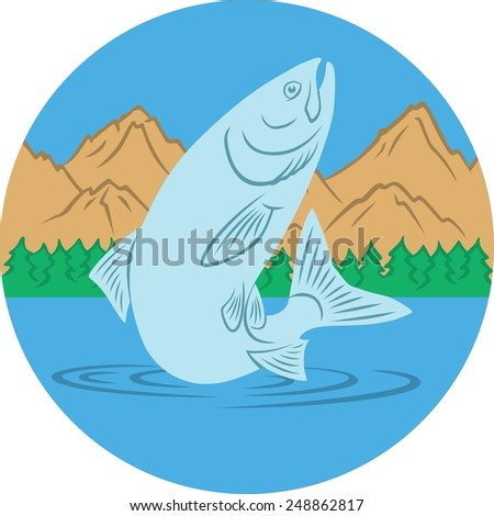 salmon fishing - stock vector