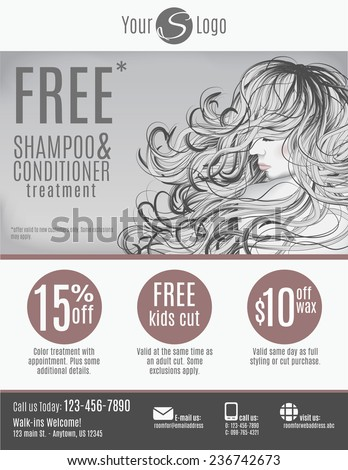 Salon flyer template with discount coupons and advertisement showing beautiful woman with long hair in black and white - stock vector