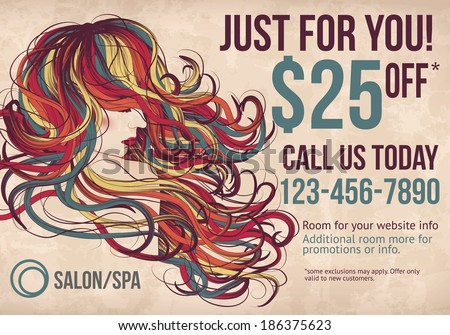 Salon postcard with coupon discount advertisement showing beautiful woman with long colorful hair - stock vector