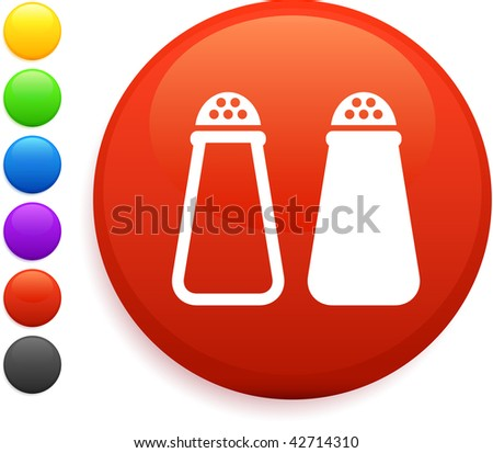 salt and pepper icon on round internet button original vector illustration 6 color versions included - stock vector