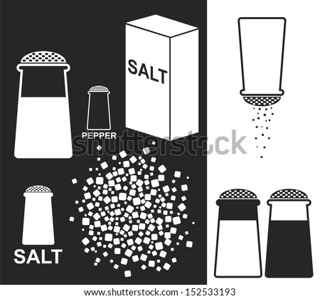 Salt. Pepper - stock vector