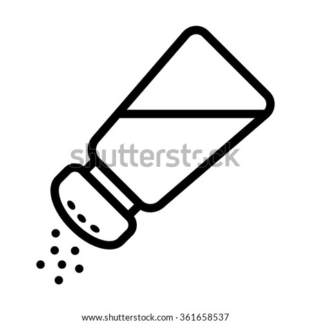 Salt shaker seasoning line icon for food apps and websites - stock vector