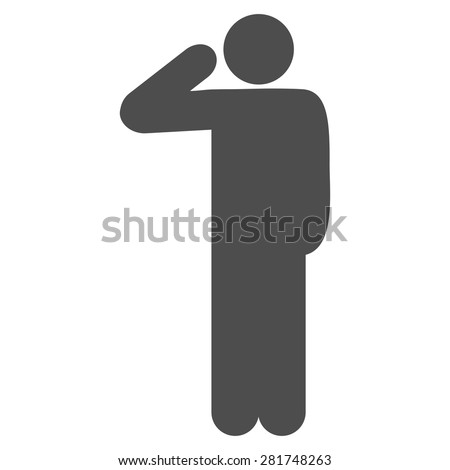 Salute icon from Man Poses Set. Style: monochrome gray icons, rounded corners, white background. - stock vector