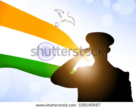 Saluting soldier silhouette on Indian Flag waving background  EPS 10    Indian Army Soldier With Flag