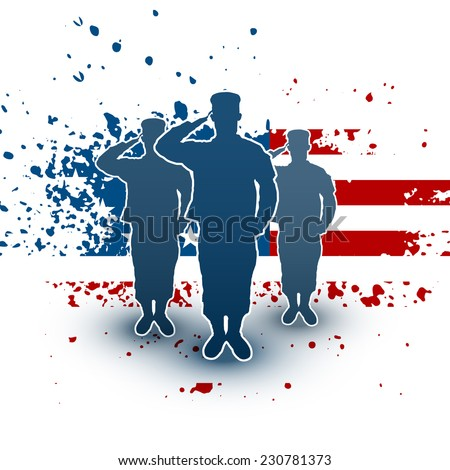 Saluting soldiers silhouette on american flag background - stock vector