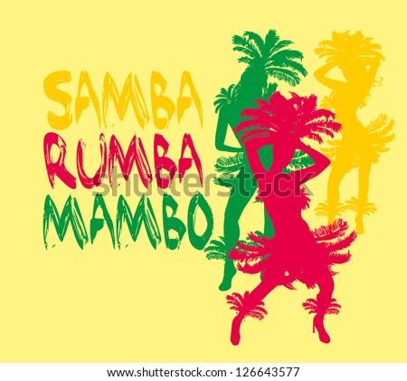 samba girls vector art - stock vector