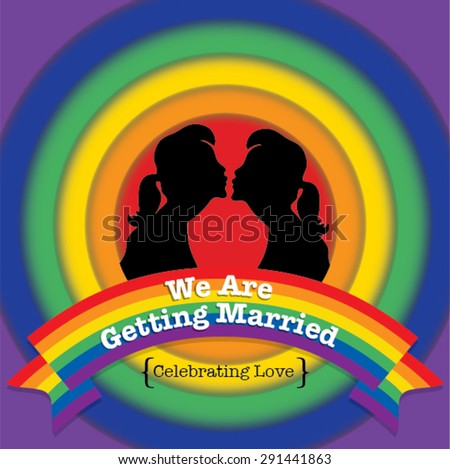 Same sex marriage. LOVE WINS vector illustration. Couple kissing. We are getting married. - stock vector