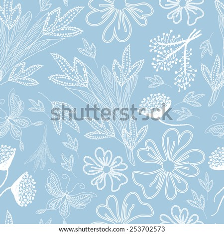 Samless pattern with white floral elements on blue background. Sketch edges of the flowers, branches, butterflies and leaves. Endless illustration. - stock vector