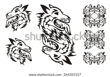 Samoyed dog breed. Tribal dog symbols  - stock vector