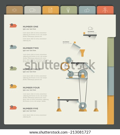 Sample print or web page. Infographics template.  - stock vector