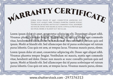 Sample Warranty certificate template. Complex frame. With sample text. Very Detailed.  - stock vector