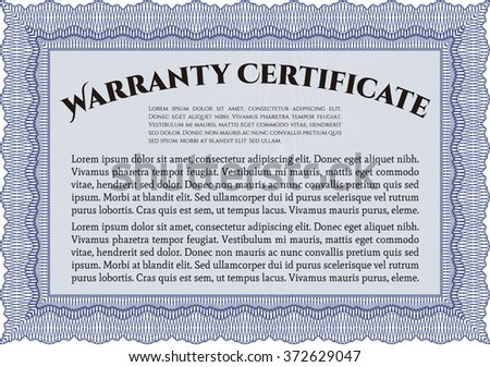 Stock Images Similar To Id   Warranty Template Or