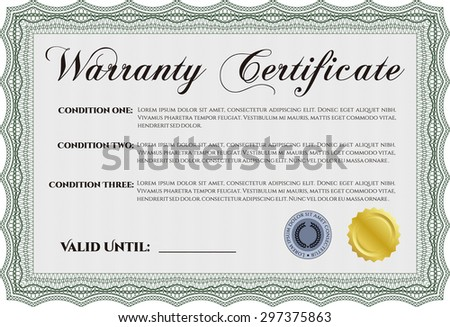 Sample Warranty certificate. With complex background. Perfect style. Complex frame.  - stock vector