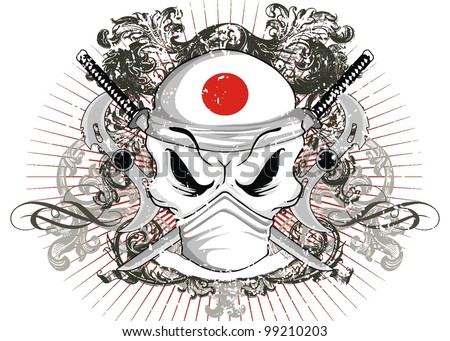 samurai japan skull - stock vector