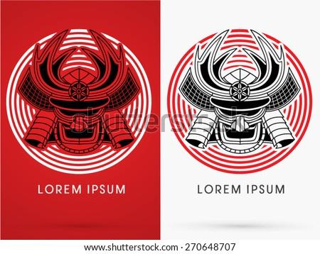 Samurai mask, Head, Face ,on cycle background, logo, symbol, icon, graphic, vector. - stock vector