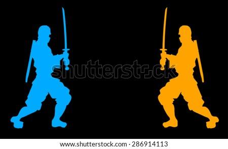 samurai symbols - stock vector