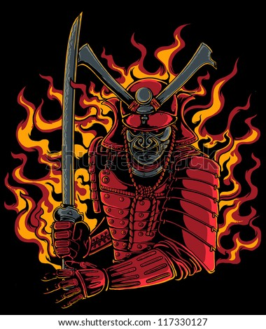 samurai warrior vector t shirt design, black background is easy to replace - stock vector