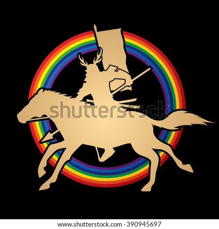 Samurai Warrior with Spear, Riding horse, designed on rainbows background graphic vector. - stock vector