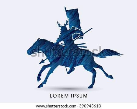 Samurai Warrior with Spear, Riding horse, designed using blue grunge brush graphic vector. - stock vector