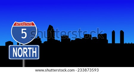 San Diego skyline with interstate 5 sign vector illustration - stock vector