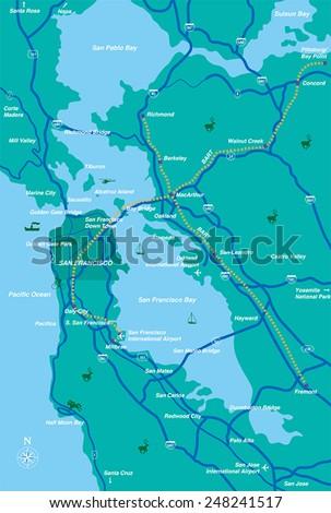 San Francisco Bay Area map  - stock vector
