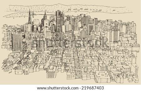 San Francisco, big city architecture, vintage engraved illustration, hand drawn, sketch - stock vector