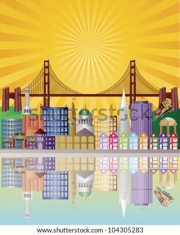 San Francisco California City Skyline with Golden Gate Bridge with Sunrise Background Illustration - stock vector