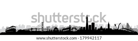San Francisco City Skyline Silhouette vector artwork - stock vector